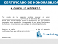 Certificado de honorabilidad Modelo en Word