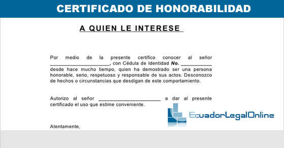 Certificado de honorabilidad, Modelo Certificado de honorabilidad en word